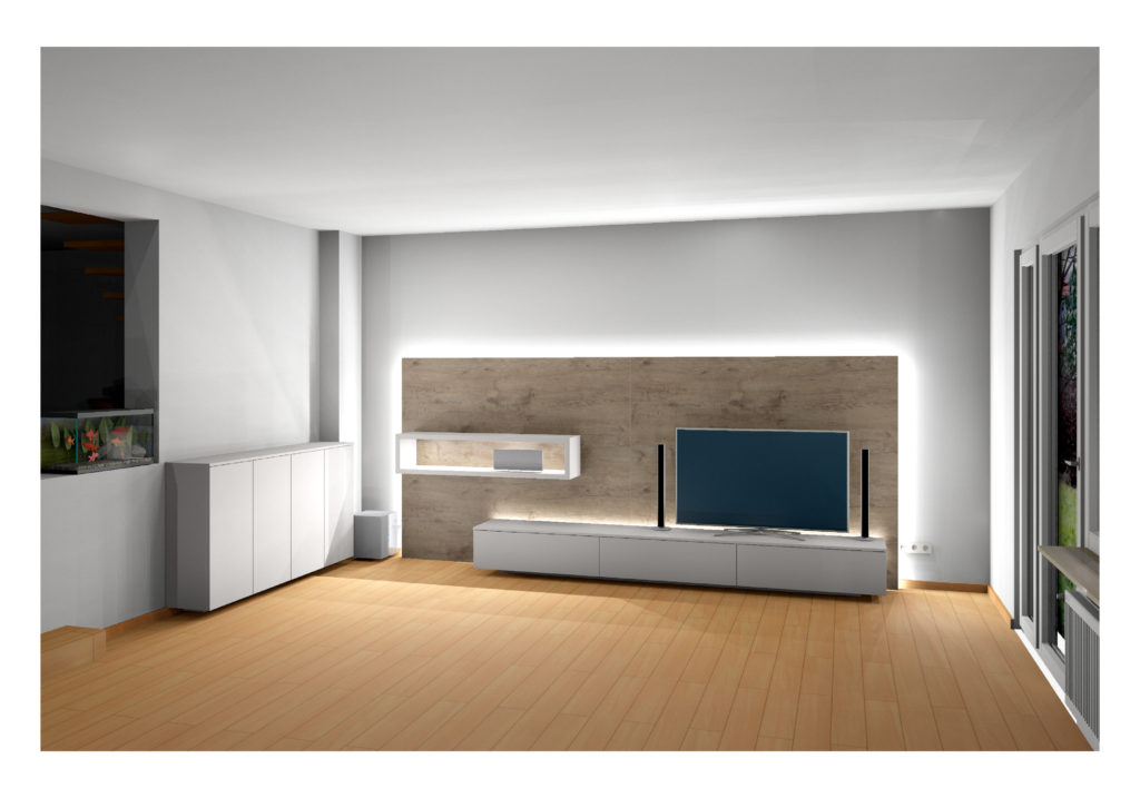 Die Grafik zeigt einen digitale 3D Entwurf für eine Wohnzimmerwand.